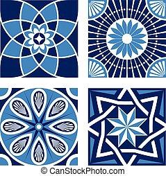 Vintage Ornamental Pattern in tones of blue.