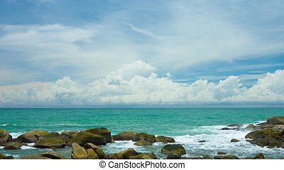 quot;Rocky Tropical Beach on a Calm Sea, with Soundquot; -...