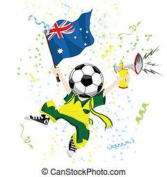 Australia Soccer Fan with Ball Head