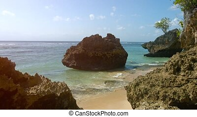 quot;Calm Waters of a Tropical Sea, Surging against a Rocky...