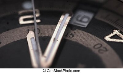 Extreme Closeup of a Wristwatchs Hands and Face - Extreme...