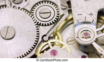 Extreme Closeup of a Wristwatch's Internal Workings -...