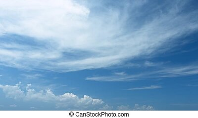 Tropical Sky with Distant Clouds - Beatiful, warm, blue,...