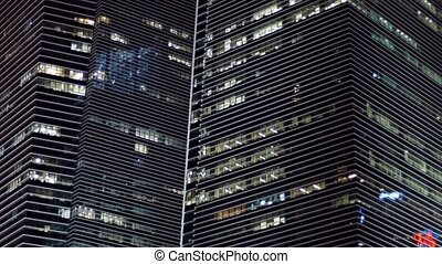 """Beautiful Lines of Stylish, Highrise Buildings at Night."" -..."
