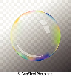 Transparent vector soap bubble - Colorful transparent vector...
