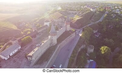Aerial view Flying camera over of the old castle. Ukrine....