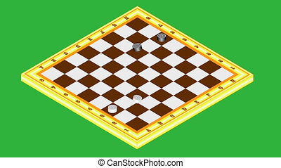 Draughts. Playing checkers - draughts. Chessboard with black...