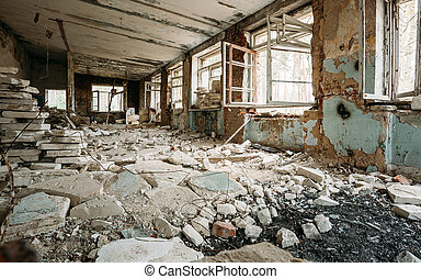 Abandoned Building Interior Chernobyl Disasters - Abandoned...