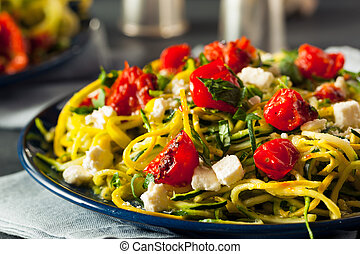 Homemade Zucchini Noodles Zoodles Pasta with Tomatos and...