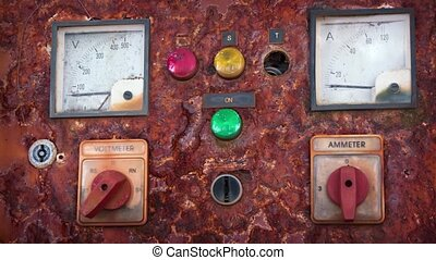 Old Electrical Control Panel video - Old, electrical control...