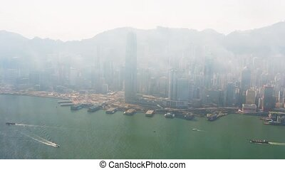 "Hong Kong Cityscape through the Fog. Video - ""Overlooking..."
