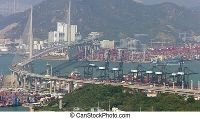 Stonecutters Bridge and Container Yards in Hong Kong video -...