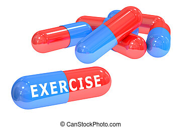 exercise pills concept, 3D rendering isolated on white...