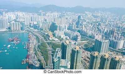 "Hong Kong's Crowded Urban Landscape. Video - ""Overlooking,..."