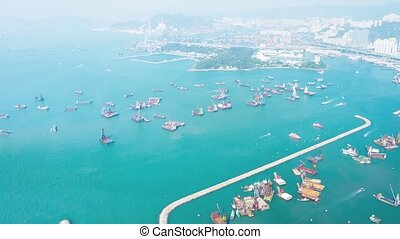 Hong Kongs Busy Commercial Harbor Video - Overlooking,...
