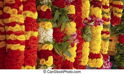 Floral Leis for Sale in an Outdoor Public Market. Video