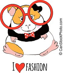 Guinea pig in red round glasses. - Guinea pig in red round...