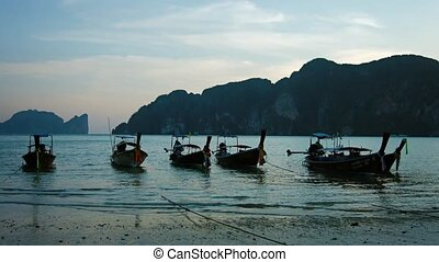 Longtail Boats Tied - Six, traditional longtail boats, tied...