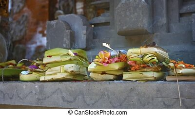 Incense and Offerings on an Altar at a Hindu Temple. Video -...