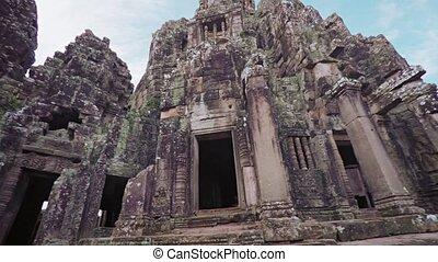 quot;Intricately Carved, Ancient Stone Walls of Bayon Temple...