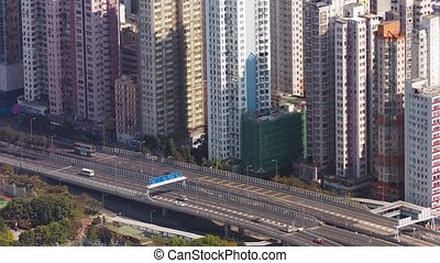 Wall of Highrise Buildings at Hong Kong's City Limits. video...