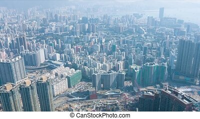 Overlooking Hong Kong's Crowded Cityscape. video -...