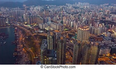 Hong Kongs Crowded Cityscape - Overlooking shot of Hong...