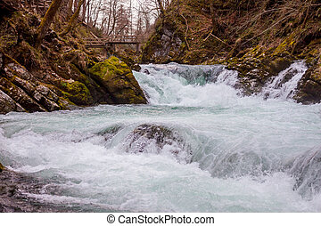 The Vintgar gorge Canyon with wooden pats - The famous...