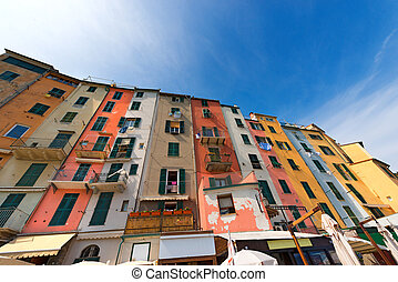 Houses in Portovenere Liguria Italy - The tower houses in...