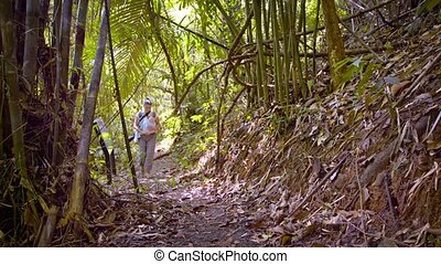 """Tourist Hiking in Tropical Wilderness with Baby, with..."