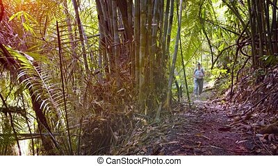 "Tourist Walking down a Nature Trail - ""Happy tourist walks..."