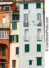 Houses in Portovenere Liguria Italy - Detail of the tower...