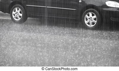 Looped video. The car under heavy rain. FullHD video