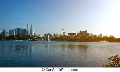Urban Lake at Kuala Lumpur City Park in Malaysia -...