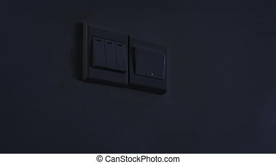 """Hand Using a Wall Switch to Turn on the Lights, with Sound""..."