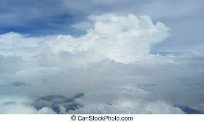 Beautiful clouds. The view from a flying plane. Video FullHD