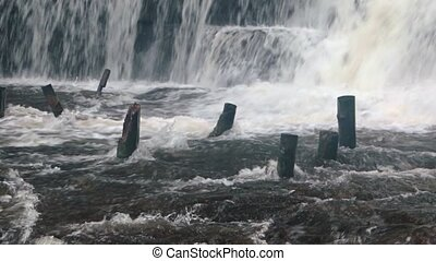 """White Water Cascades around Old Pilings at Phnom Kulen..."