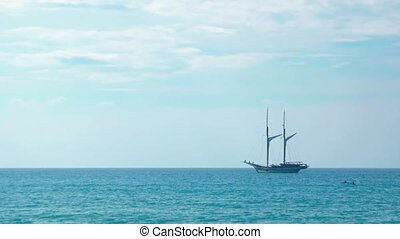 Two Masted Wooden Sailboat - Two masted, wooden sailing...
