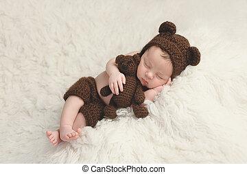 男孩, 玩具, 熊, 新生, 嬰孩, 帽子