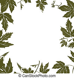 Grape leaf frame for text of photography
