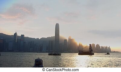 Ferry and Utility Boat Traffic in Harbor off Hong Kong. Video