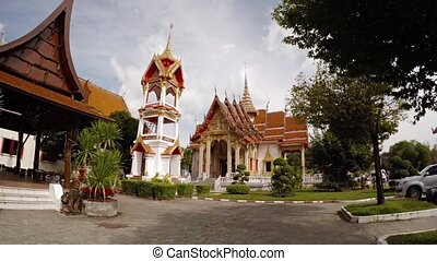 Gardens and Ornate Buildings of Wat Chalong in Phuket...