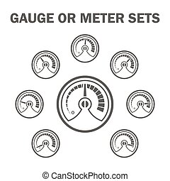 Gauge meter icons - Gauge or meter vector icons sets design