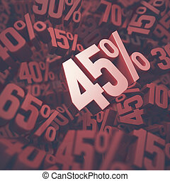 Forty Five Percent Discount - 3D image concept of forty five...