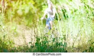 Cyclist Riding a Mountain Bike on a Nature Trail. Video -...