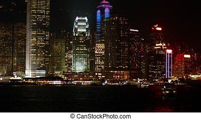 "Dramatically Lit Hong Kong Cityscape at Night - ""Harbor,..."