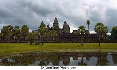 Angkor Wat Temple Complex under a Cloudy Sky - Quincunx of...