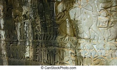 Ancient Relief Carvings in Stone at Bayon Temple in Cambodia...
