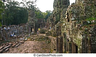 Bayon Temple Undergoing Restoration in Cambodia - Workers...