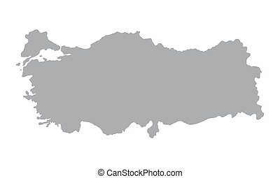 Turkey map on a white background - Map Turkey gray on a...